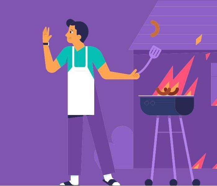 cartoon of man standing by grill with flames shooting up